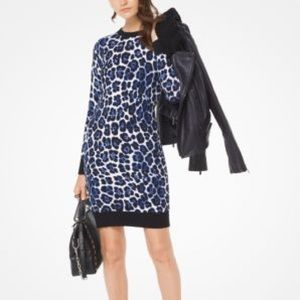 Michael Kors Leopard Stretch-Knit Dress Blue NWT!